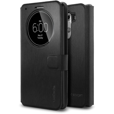 Spigen LG G3 Case Flip View (Metallic Black)