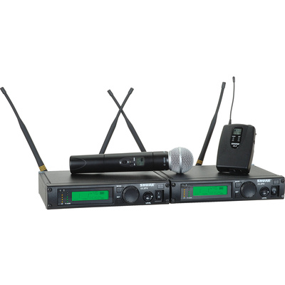 Shure ULX Dual Receiver Handheld and Bodypack UHF Wireless Kit (J1: 554 - 590 MHz) SM58