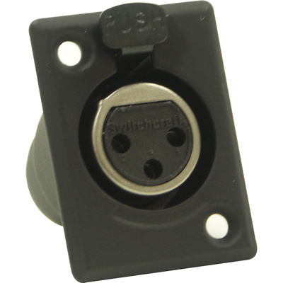 Switchcraft D Series 3-Pin XLR Female (Black Finish, Silver Pins)