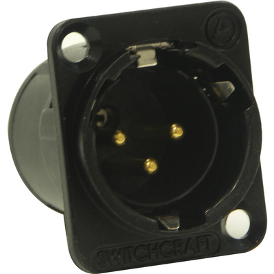 Switchcraft E Series 3-Pin XLR Male Solder Contacts (Black, Gold)