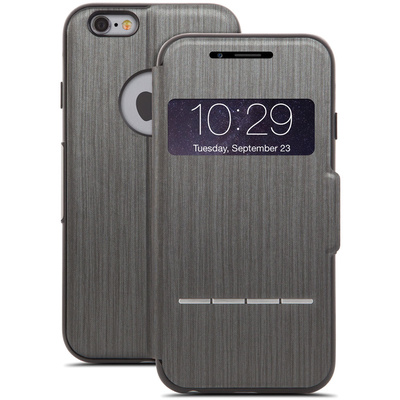 Moshi SenseCover Touch-Sensitive Flip Case for Apple iPhone 6 (Steel Black)