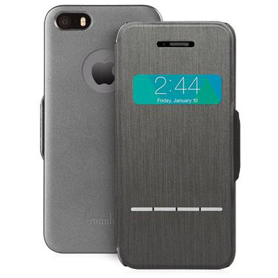 Moshi SenseCover Touch-Sensitive Flip Case for Apple iPhone 5/5s (Steel Black)