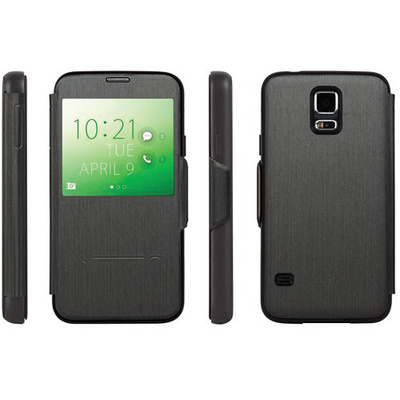 Moshi SenseCover Touch Sensitive Flip Case for Samsung Galaxy S5 (Steel Black)