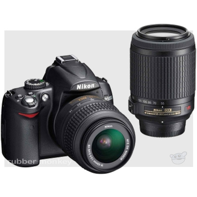 Nikon D5000 SLR Kit - including VRAFS 18-55mm and 55-200mm Lenses and SD4GB Card
