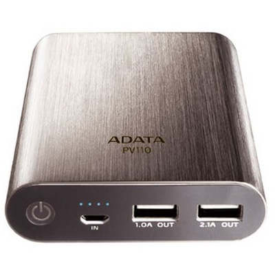 ADATA PV110 Power Bank - 10400mAh Backup Battery - Titanium