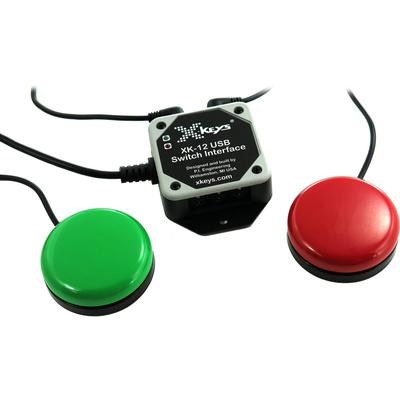 X-keys USB 12 Switch Interface with Red and Green Orby Button