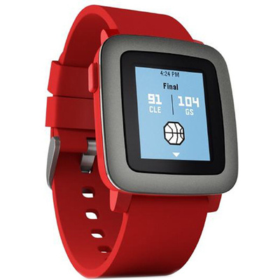 Pebble Time Smartwatch (Red with Black Bezel)