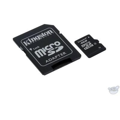 Kingston 4GB microSDHC Memory Card Class 4 with microSD Adapter