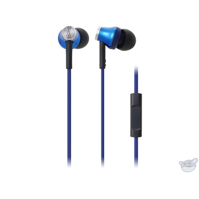 Audio Technica ATH-CK330iS In-ear Headphones with Inline Control and Mic (Blue)