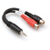Hosa YRA-154 Stereo 3.5mm Mini Phone Male to 2 RCA Female Y-Cable - 6""