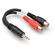 "Hosa YRA-154 Stereo 3.5mm Mini Phone Male to 2 RCA Female Y-Cable - 6"""