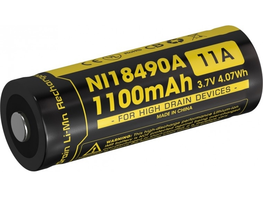 NITECORE NI18490A Li-Ion Rechargeable IMR 18490 Battery (1100mAh)