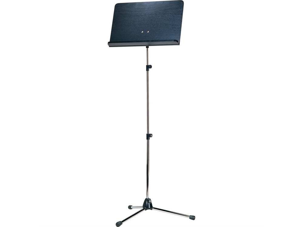 K&M 11842 Orchestra Nickel Music Stand with Black Wooden Desk (Long Shaft)