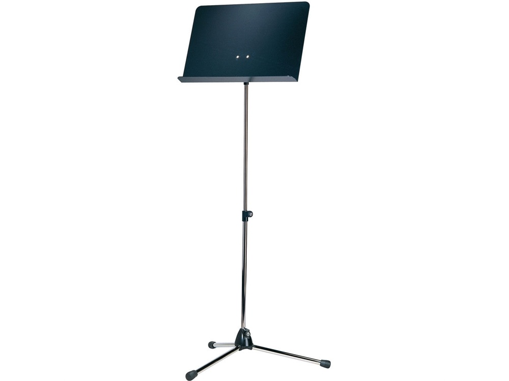 K&M Orchestra Nickel Music Stand with Black Aluminum Desk