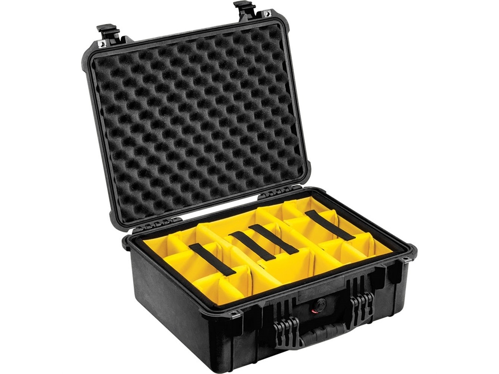 Pelican 1554 Waterproof 1550 Case with Yellow and Black Divider Set (Black)