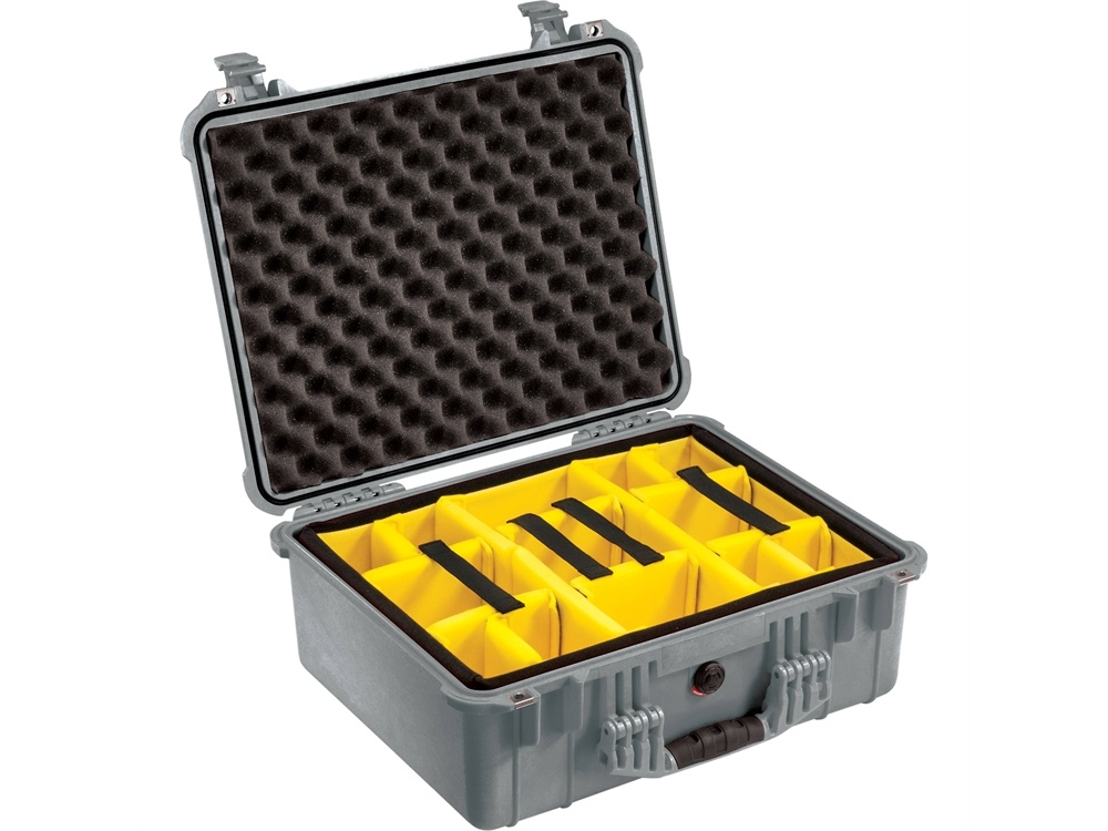 Pelican 1554 Waterproof 1550 Case with Yellow and Black Divider Set (Silver)