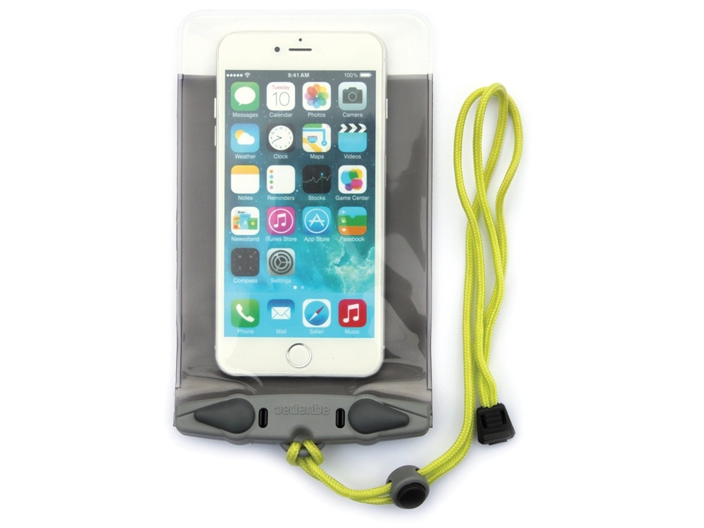Aquapac Waterproof Case for Large Smartphones (Cool Gray with Acid Green Lanyard)