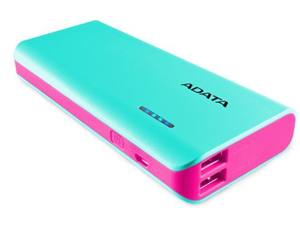 ADATA PT100 Power Bank with Flashlight (Aqua/Pink, 10000mAh)