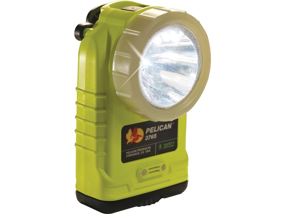 Pelican 3765 Right Angle Rechargeable Flashlight with Photoluminescent Shroud (Yellow)