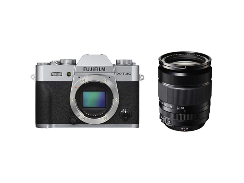Fujifilm X-T20 Mirrorless Digital Camera (Silver) with XF 18-135mm f/3.5-5.6 R LM OIS WR Lens