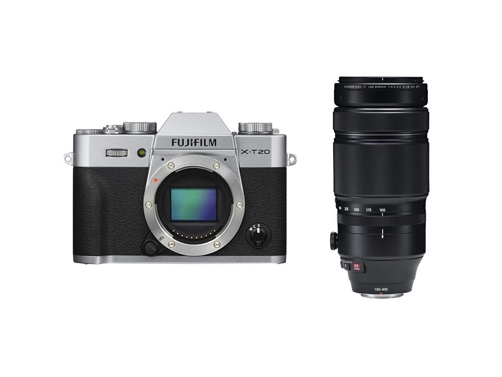 Fujifilm X-T20 Mirrorless Digital Camera (Silver) with XF 100-400mm f/4.5-5.6 R LM OIS WR Lens