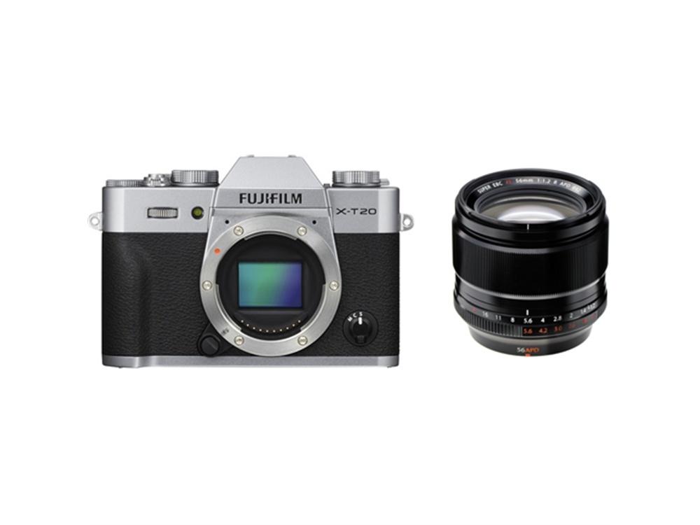 Fujifilm X-T20 Mirrorless Digital Camera (Silver) with XF 56mm f/1.2 R APD Lens