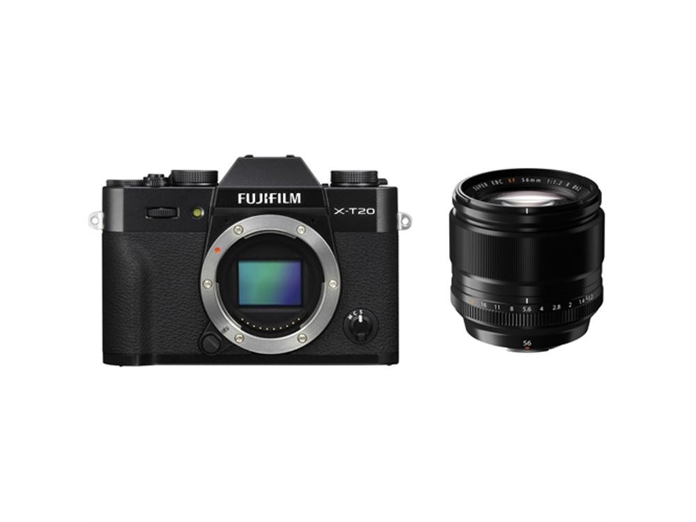 Fujifilm X-T20 Mirrorless Digital Camera (Black) with XF 56mm f/1.2 R Lens