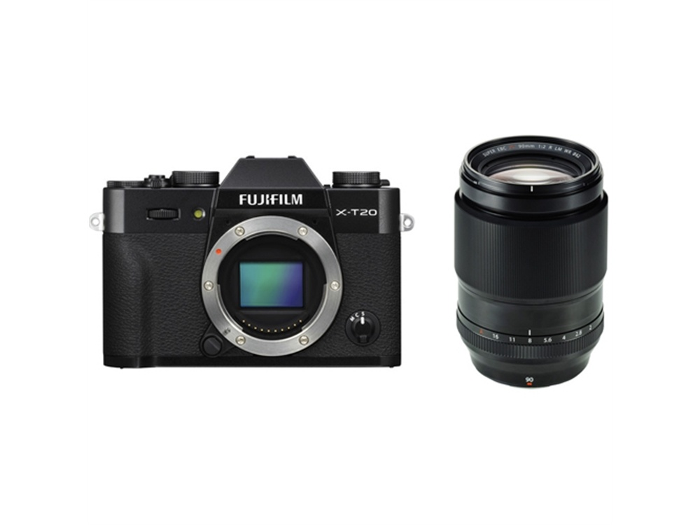 Fujifilm X-T20 Mirrorless Digital Camera (Black) with XF 90mm f/2 R LM WR Lens