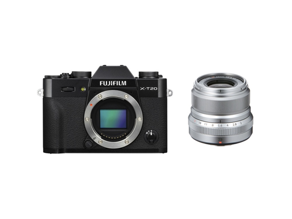 Fujifilm X-T20 Mirrorless Digital Camera (Black) with XF 23mm f/2 R WR Lens (Silver)