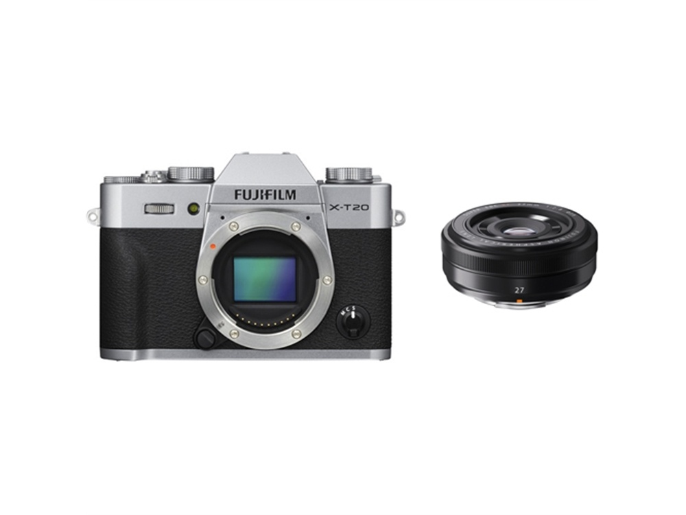 Fujifilm X-T20 Mirrorless Digital Camera (Silver) with XF 27mm f/2.8 Lens (Black)