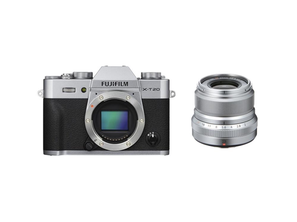 Fujifilm X-T20 Mirrorless Digital Camera (Silver) with XF 23mm f/2 R WR Lens (Silver)
