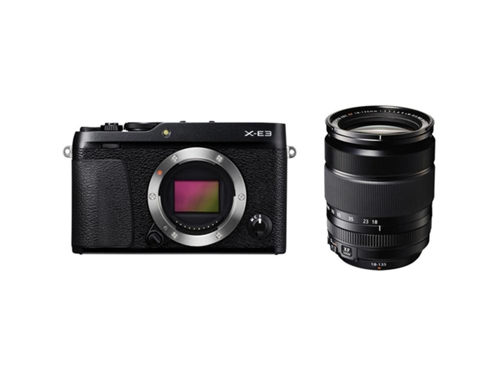 Fujifilm X-E3 Mirrorless Digital Camera (Black) with XF 18-135mm f/3.5-5.6 R LM OIS WR Lens