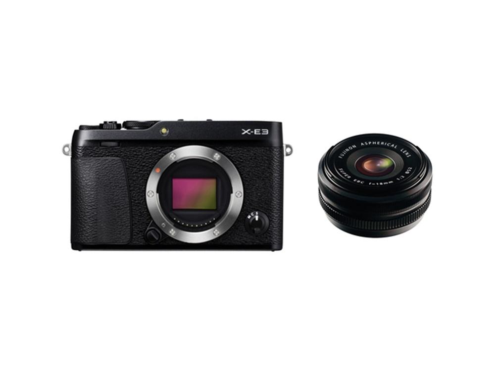 Fujifilm X-E3 Mirrorless Digital Camera (Black) with XF 18mm f/2.0 R Lens
