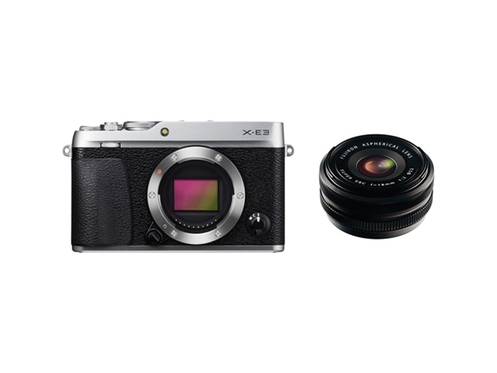 Fujifilm X-E3 Mirrorless Digital Camera (Silver) with XF 18mm f/2.0 R Lens