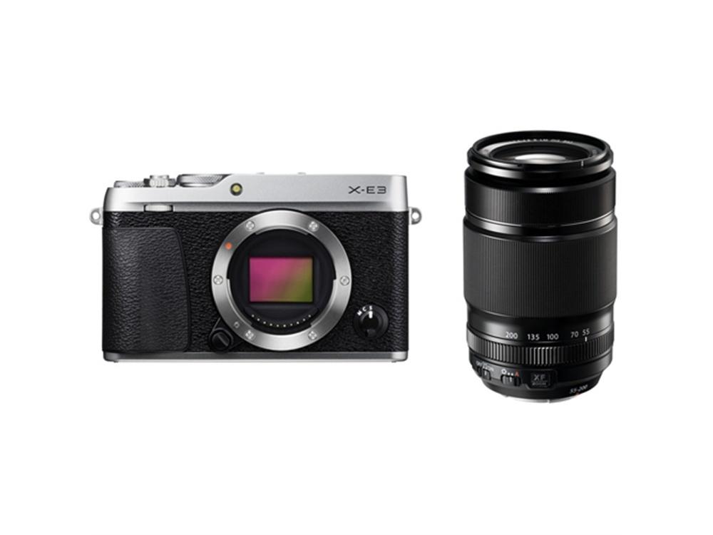 Fujifilm X-E3 Mirrorless Digital Camera (Silver) with XF 55-200mm f/3.5-4.8 R LM OIS Lens