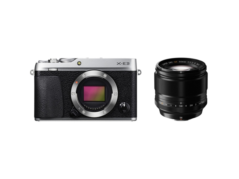 Fujifilm X-E3 Mirrorless Digital Camera (Silver) with XF 56mm f/1.2 R Lens