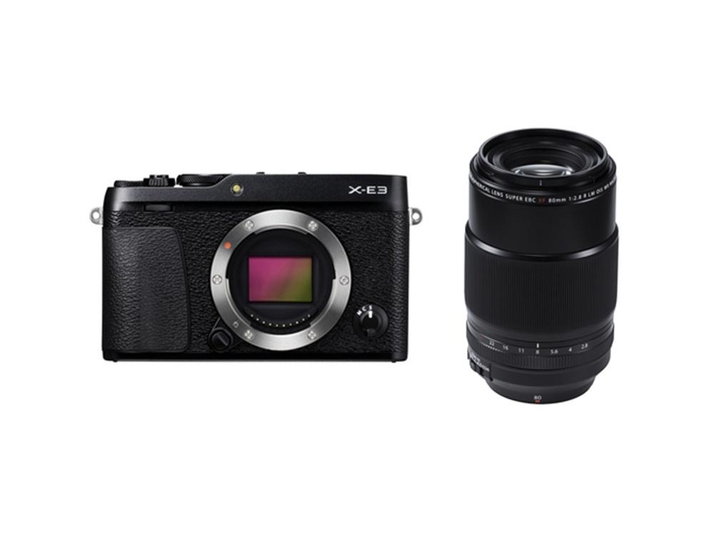 Fujifilm X-E3 Mirrorless Digital Camera (Black) with XF 80mm f/2.8 R LM OIS WR Macro Lens