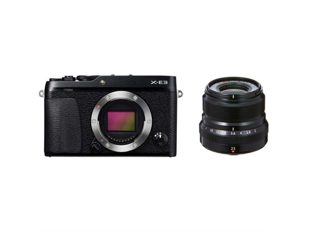 Fujifilm X-E3 Mirrorless Digital Camera (Black) with XF 23mm f/2 R WR Lens (Black)