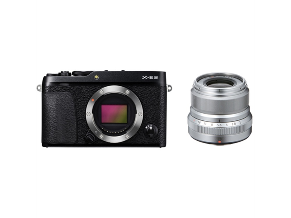 Fujifilm X-E3 Mirrorless Digital Camera (Black) with XF 23mm f/2 R WR Lens (Silver)
