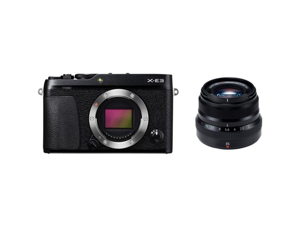 Fujifilm X-E3 Mirrorless Digital Camera (Black) with XF 35mm f/2 R WR Lens (Black)