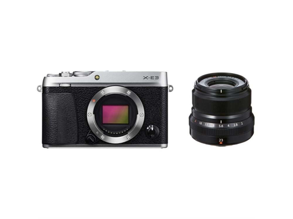 Fujifilm X-E3 Mirrorless Digital Camera (Silver) with XF 23mm f/2 R WR Lens (Black)
