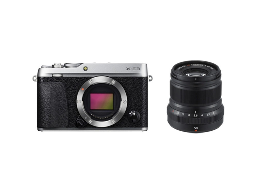 Fujifilm X-E3 Mirrorless Digital Camera (Silver) with XF 50mm f/2 R WR Lens (Black)