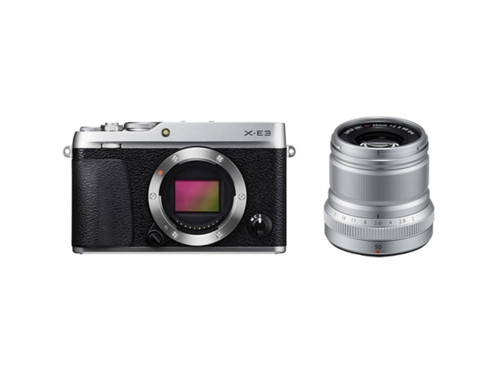 Fujifilm X-E3 Mirrorless Digital Camera (Silver) with XF 50mm f/2 R WR Lens (Silver)