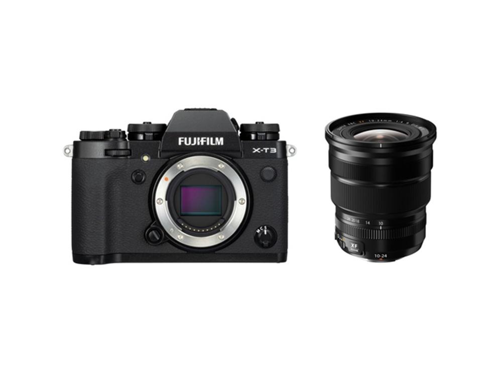 Fujifilm X-T3 Mirrorless Digital Camera (Black) with XF 10-24mm f/4 R OIS Lens