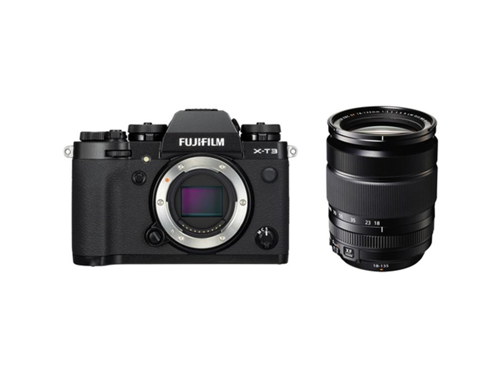 Fujifilm X-T3 Mirrorless Digital Camera (Black) with XF 18-135mm f/3.5-5.6 R LM OIS WR Lens