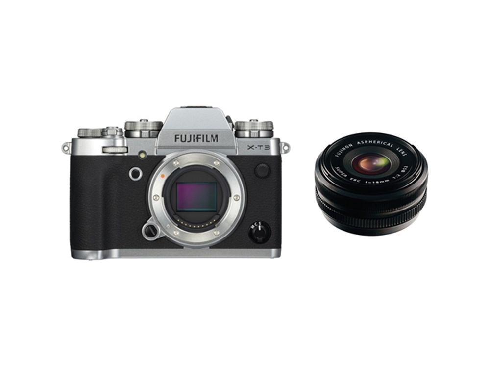 Fujifilm X-T3 Mirrorless Digital Camera (Silver) with XF 18mm f/2.0 R Lens