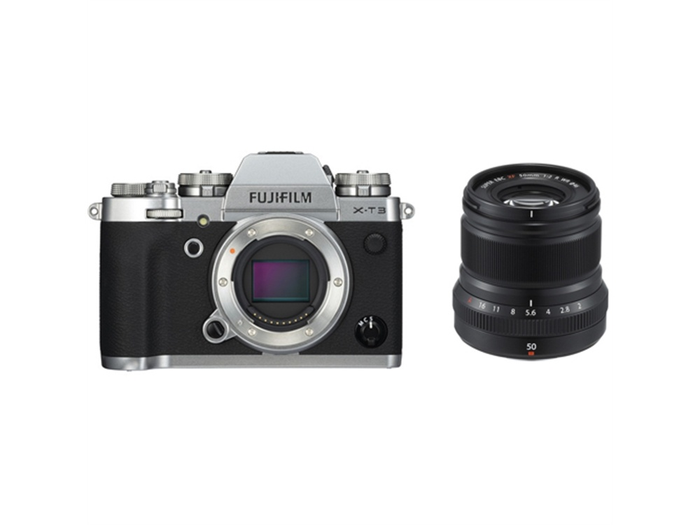 Fujifilm X-T3 Mirrorless Digital Camera (Silver) with XF 50mm f/2 R WR Lens (Black)