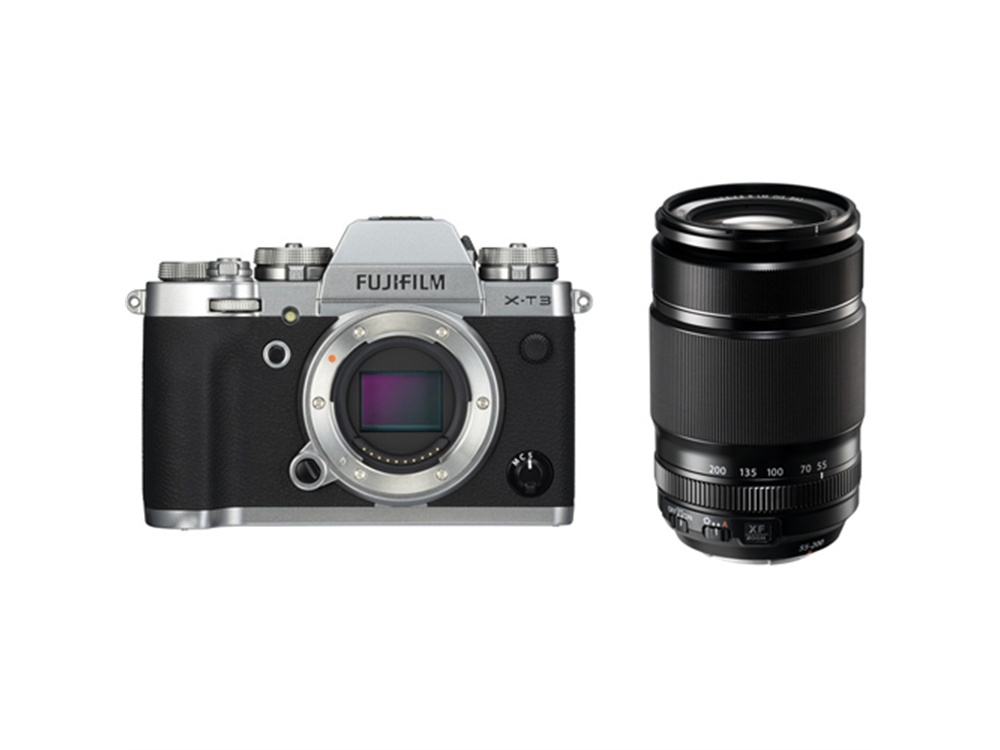 Fujifilm X-T3 Mirrorless Digital Camera (Silver) with XF 55-200mm f/3.5-4.8 R LM OIS Lens