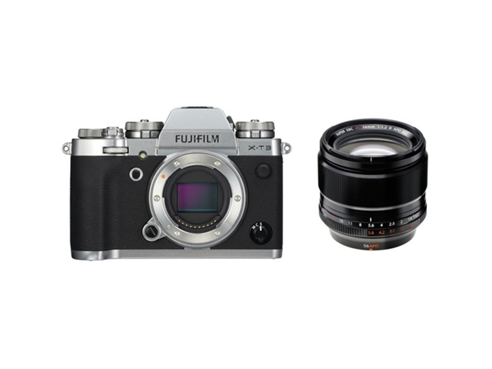 Fujifilm X-T3 Mirrorless Digital Camera (Silver) with XF 56mm f/1.2 R APD Lens