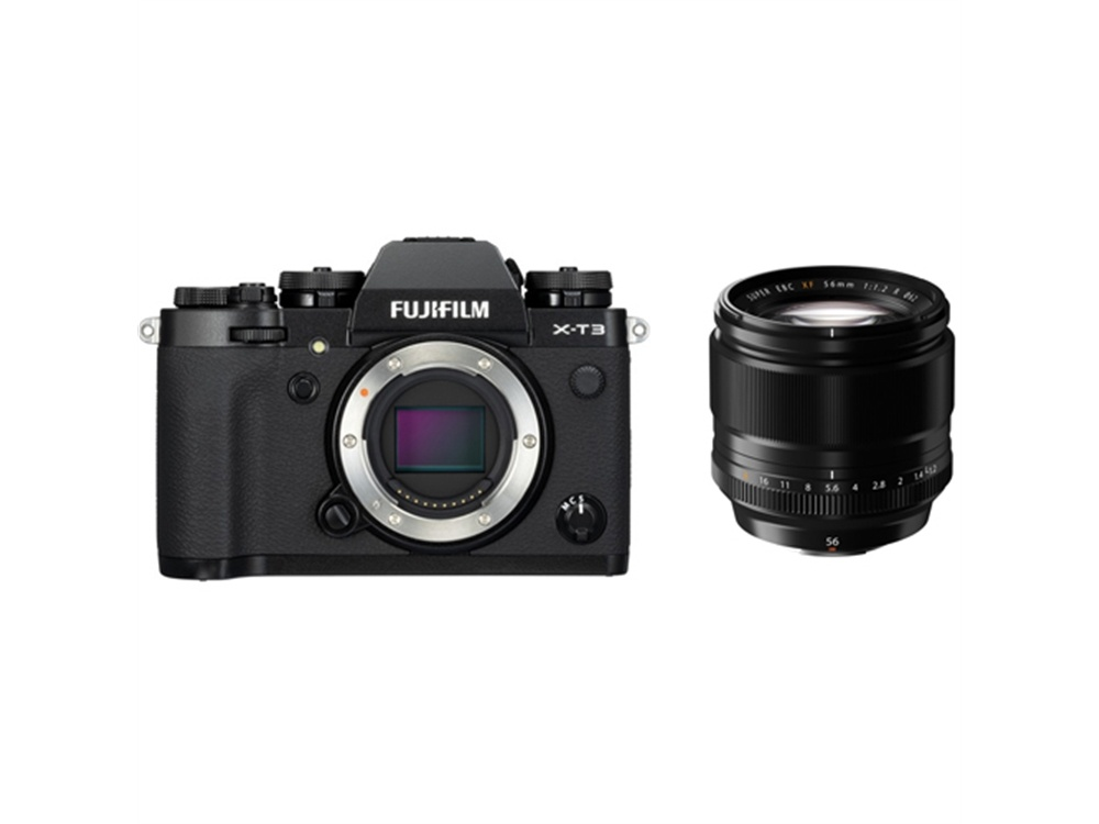 Fujifilm X-T3 Mirrorless Digital Camera (Black) with XF 56mm f/1.2 R Lens